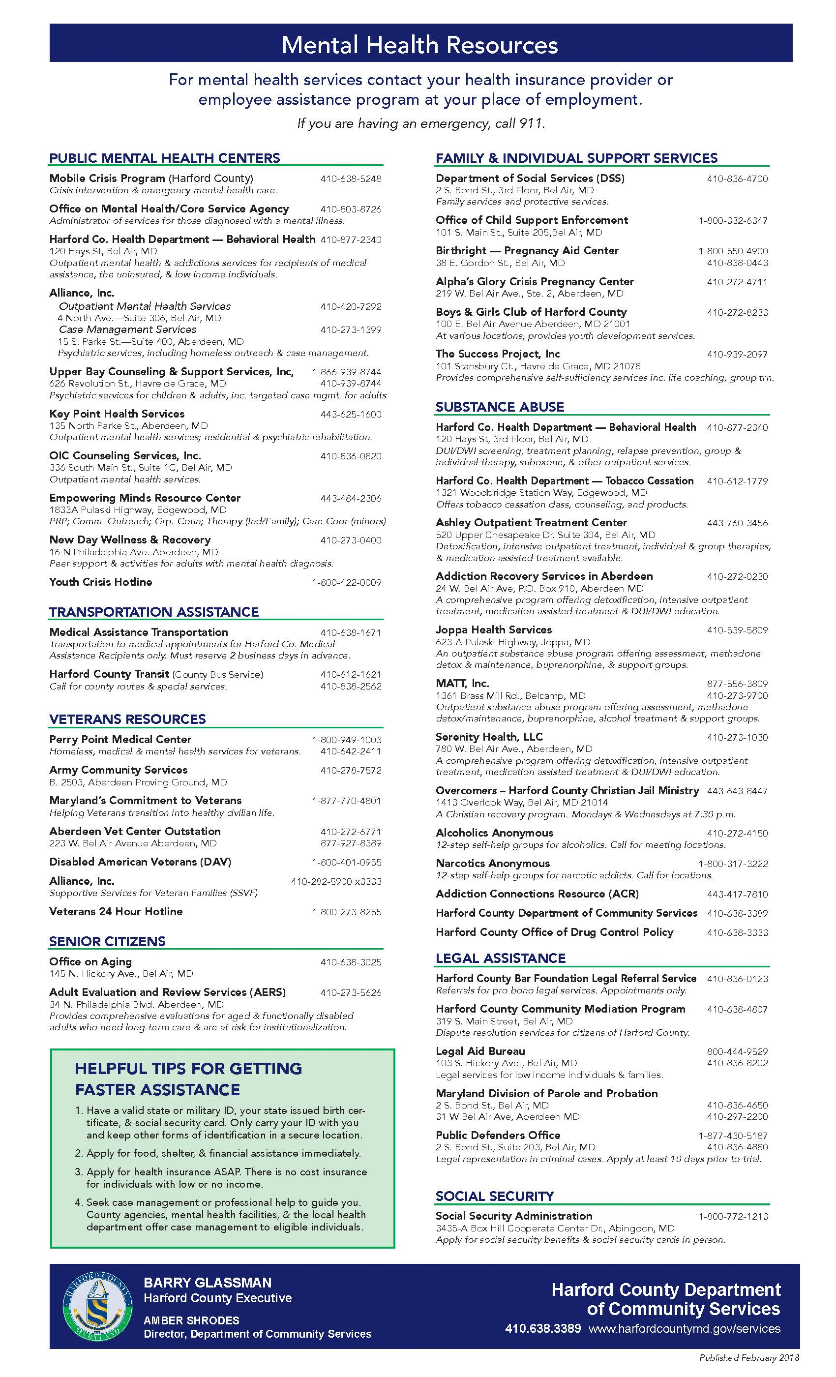 Harford County Mental Health Resource List 2