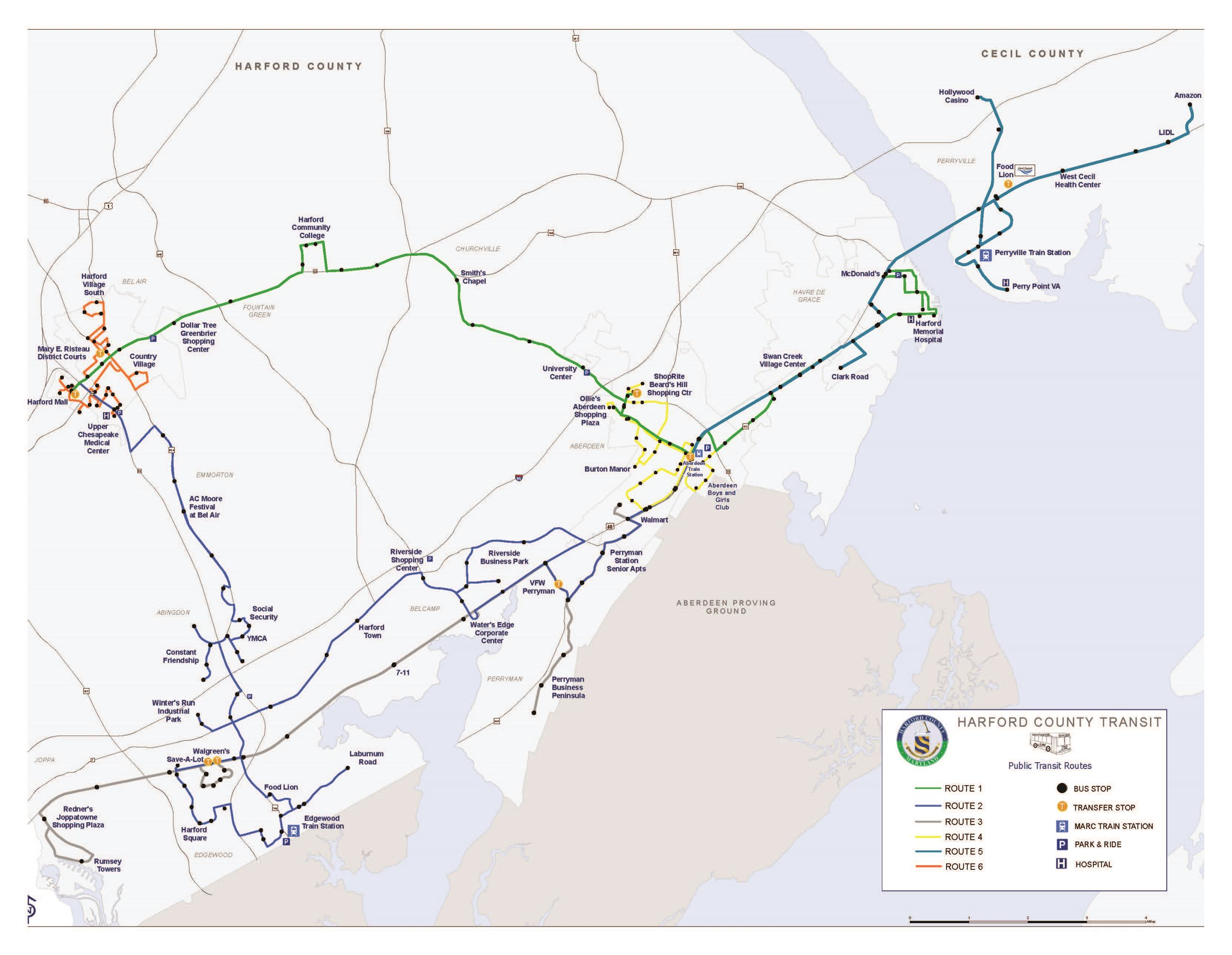 Harford Transit LINK System Map 2019