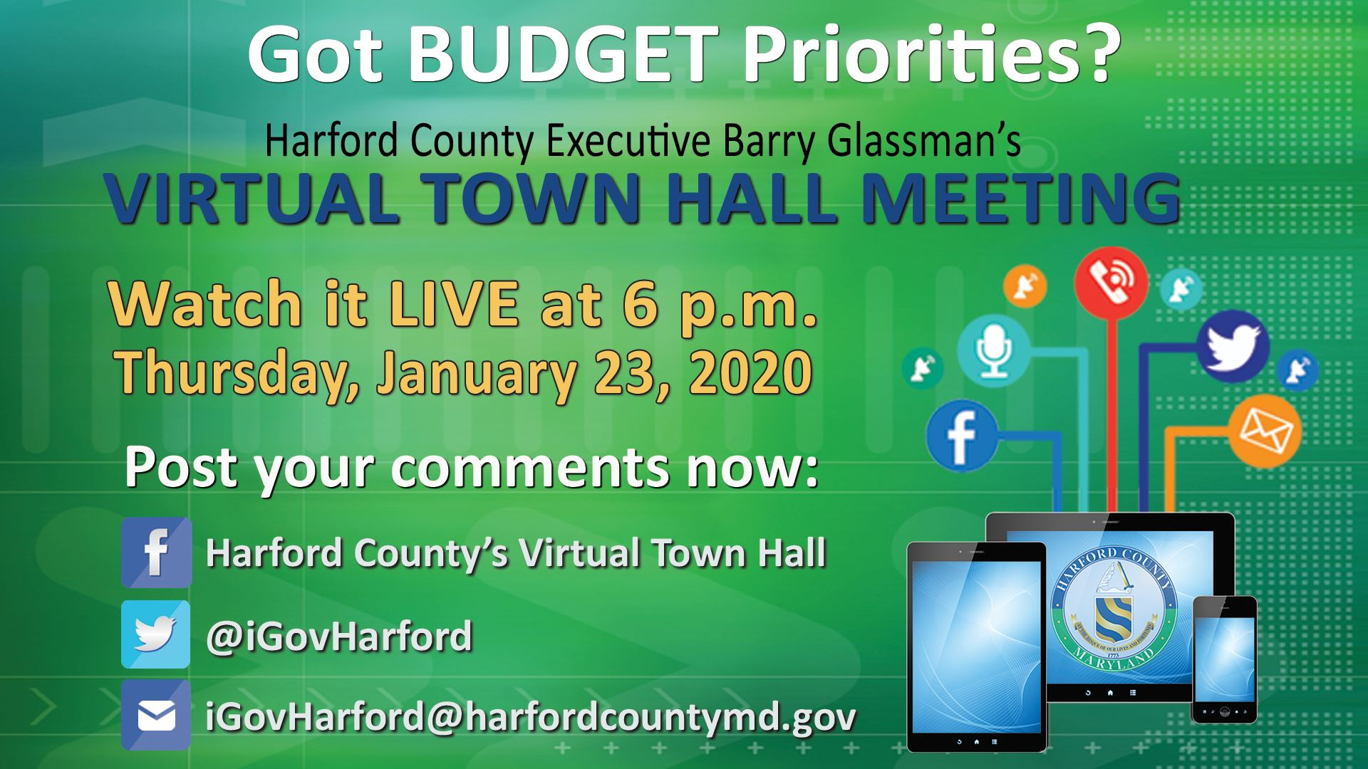Watch Harford's Virtual Town Hall LIVE on the county website on Thursday, January 23, 2020