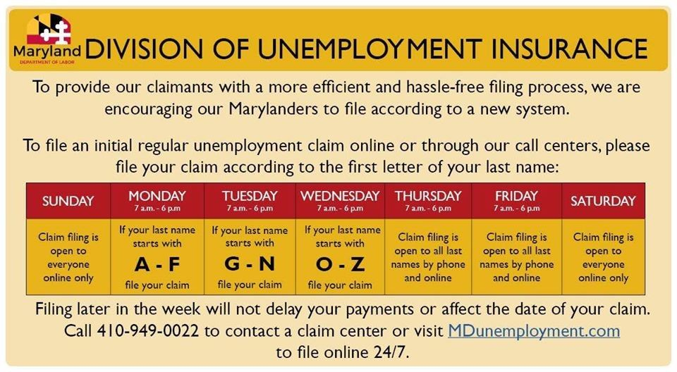 Maryland Unemployment Calling Schedule Link Button