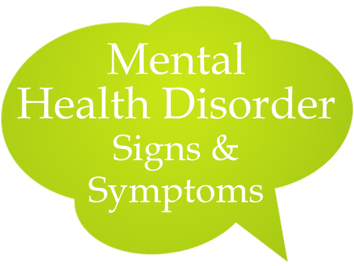 Mental Health Disorder Signs and Symptoms Speech Bubble