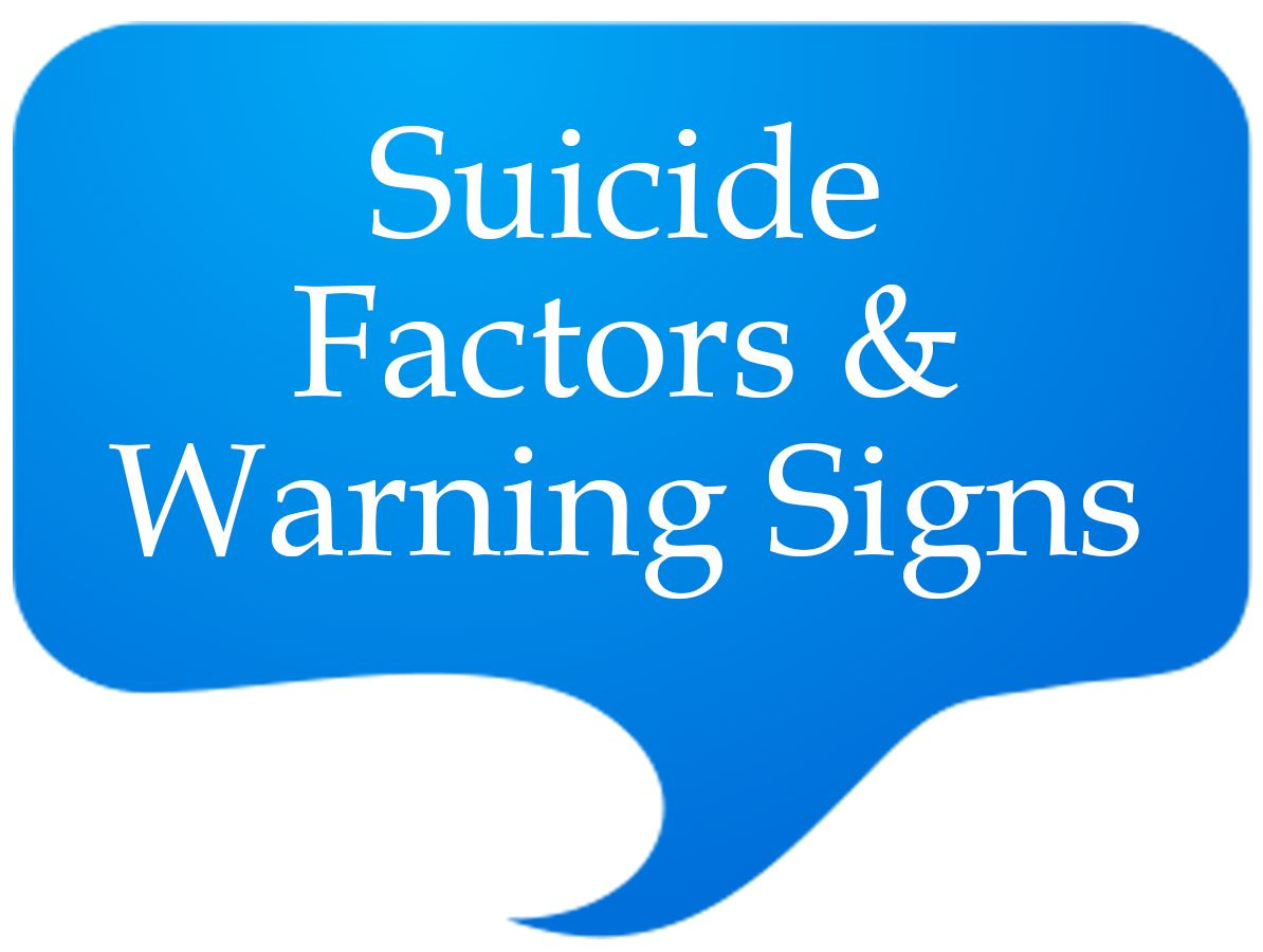 Suicide Factors and Warning signs Speech Bubble