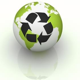A green globe with the recycle symbol on it.