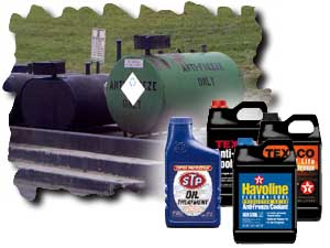 An image showing different types of antifreeze and motor oil