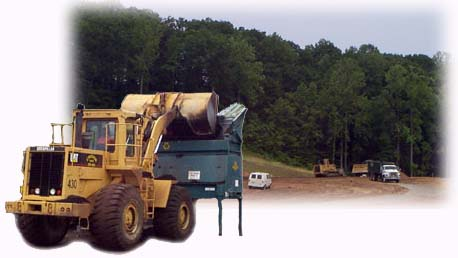 A collage of large equipment vehicles at the Harford Waste Disposal Center.