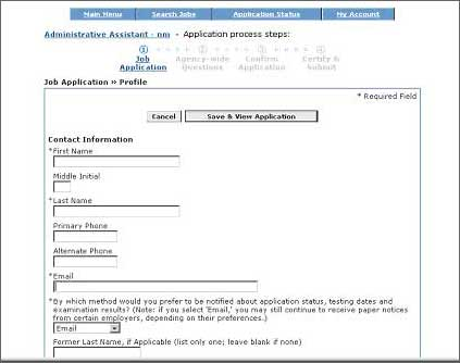 Application Process Screen