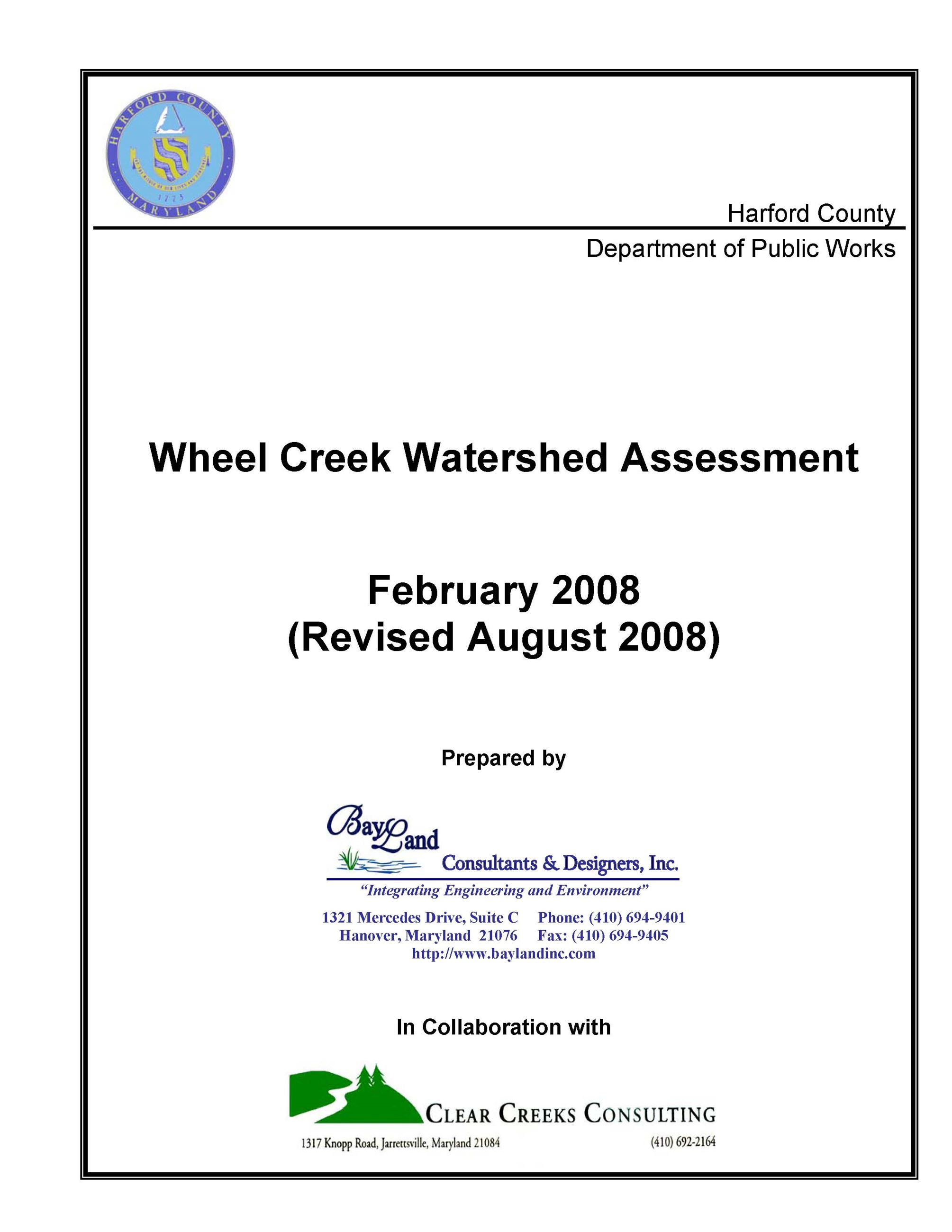 Wheel Creek SWAP coverpage