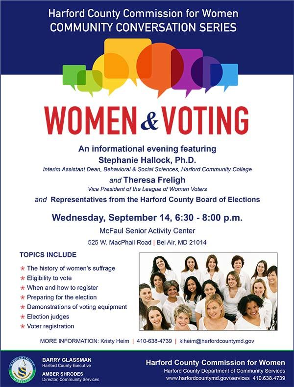 Women and Voting Community Conversation Flyer