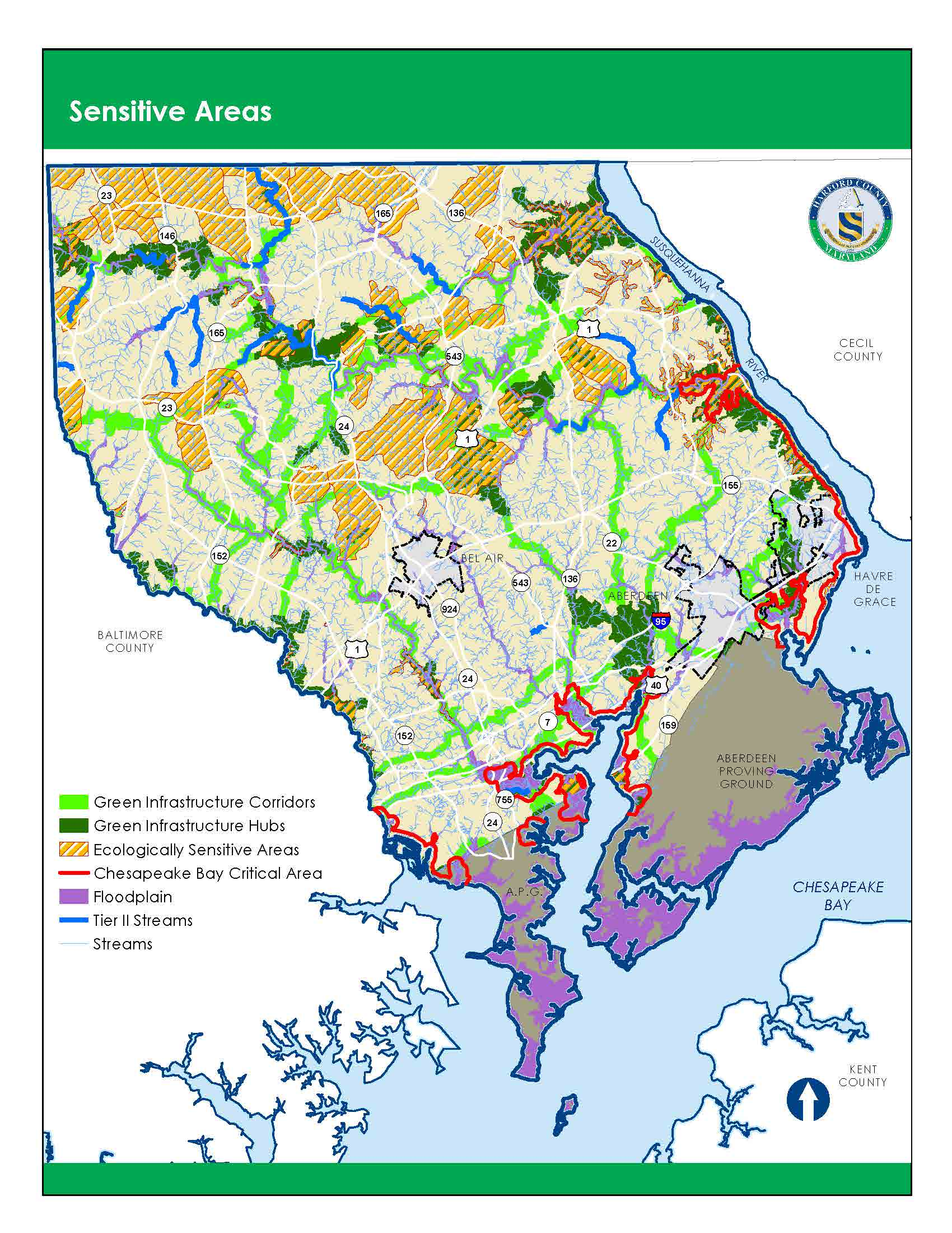 Areas of environmental importance. Green infrastructure areas, critical areas, and floodplain.