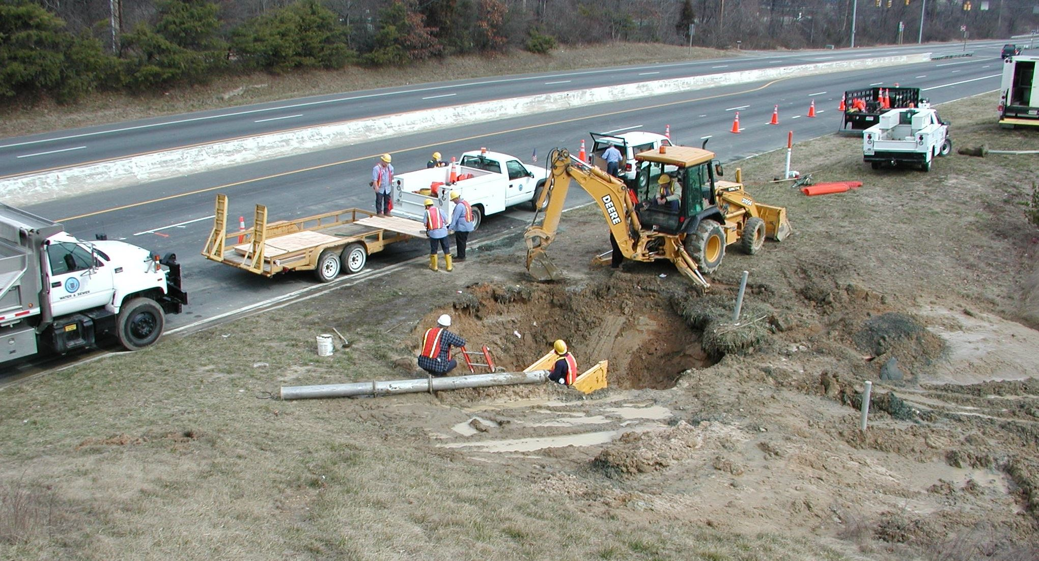 large excavation for sewer repair